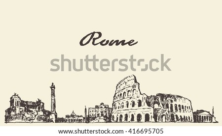 rome skyline  vintage engraved