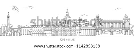 Rome Thin Line Skyline Vector Illustration with the most iconic landmarks of the Eternal City.