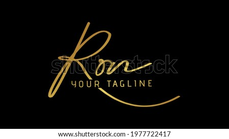 Ron Beauty vector golden signature name logo, isolated on black background. Foto stock ©