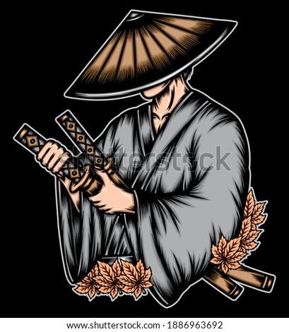 Ronin bring katana sword. Premium vector