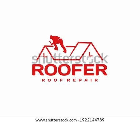 Roof repair and maintenance logo design. Roofing work vector design. Roof construction and covering logotype