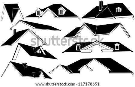 roof set isolated on whiteRoofer Vector