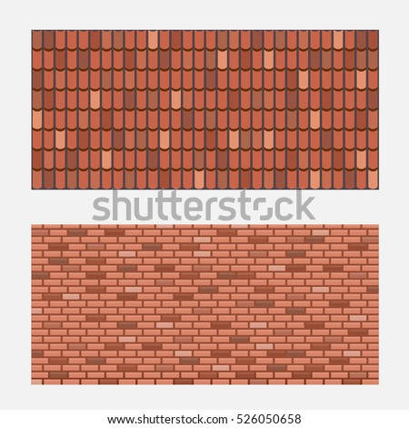 Roof tiles, brick wall texture, vector illustration. Realistic brown tile and brick elements.
