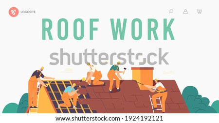 Roofer Men with Work Tools Landing Page Template. Roof Construction Workers Characters Conduct Roofing Works, Repair Home, Fixing Rooftop Tile House with Equipment. Cartoon People Vector Illustration