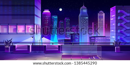 Rooftop bar, restaurant lounge area with comfortable armchairs, flowerpot, lamps on city house roof cartoon vector. Night metropolis view with illuminated skyscrapers from terrace above street level