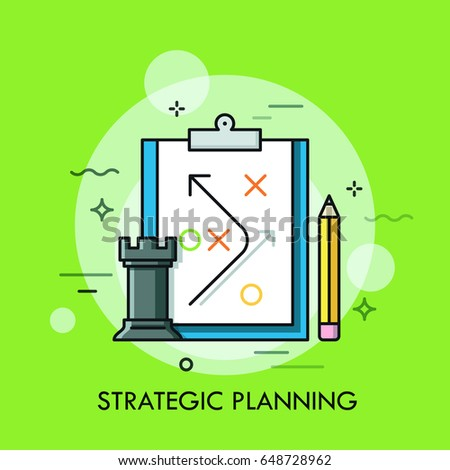 Rook chess piece, pencil and strategic plan drawn on paper sheet. Planning of business strategy and future development, defining of organizational process concept. Vector illustration for website.