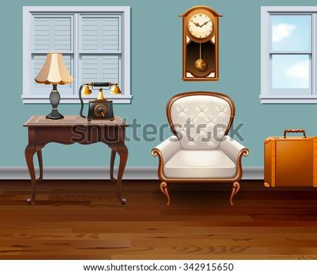 room full of vintage furniture...