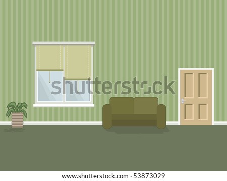 room interior in green with sofa and plant