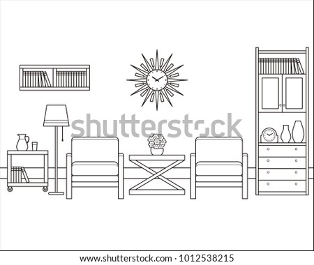 Room Interior Outline Sketch Retro Living In Flat Design Vector Linear Vintage