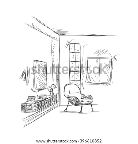 room interior sketch place for