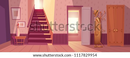 Room interior vector illustration of retro corridor or hallway entrance with furniture. Cartoon flat background of apartment stairs, coat and hat on hanger, shoe drawer and flower in vase on table #1117829954