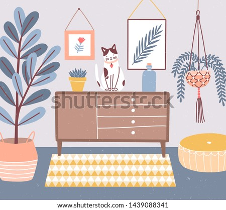 Room interior with cat sitting on chest of drawers or cupboard, houseplants in pots, ottoman, wall pictures. Apartment with furniture and home decorations in hygge style. Flat vector illustration.