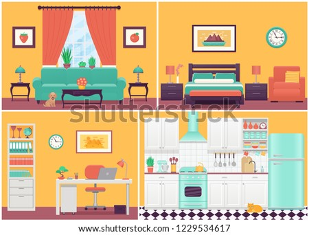 room interiors vector living