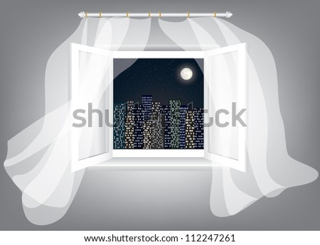 Room, opened window with night city scrape and curtains