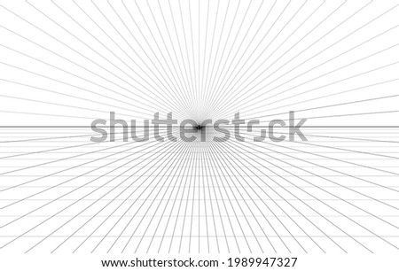 Room perspective grid background 3d Vector illustration. architecture model projection background template. Line one point perspective horizon perspective sheme
