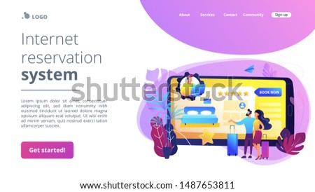 Room reservation online customer support, consultation. Virtual reception office. Internet booking, accommodation search helpline chat concept. Website homepage landing web page template.