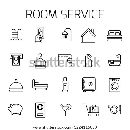 Room service related vector icon set. Well-crafted sign in thin line style with editable stroke. Vector symbols isolated on a white background. Simple pictograms.