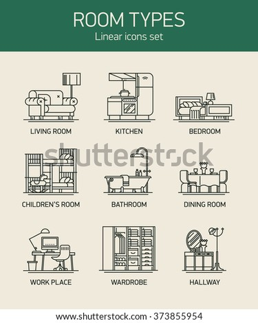 Room types and home interior linear icons thin line for Living room bedroom bathroom kitchen