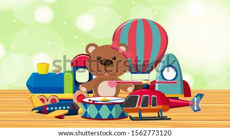 room with cute toys on wooden