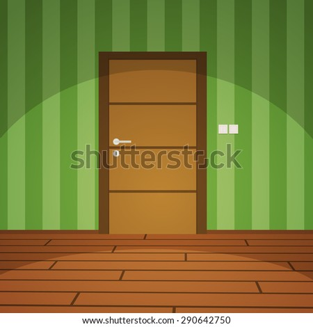 room with door   green