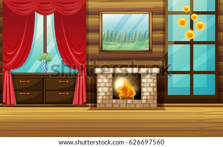room with fireplace and red