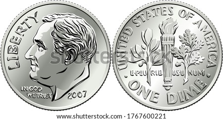 Roosevelt dime, United States one dime or 10-cent silver coin, President Franklin Roosevelt on obverse and olive branch, torch, oak branch on reverse Stock photo ©