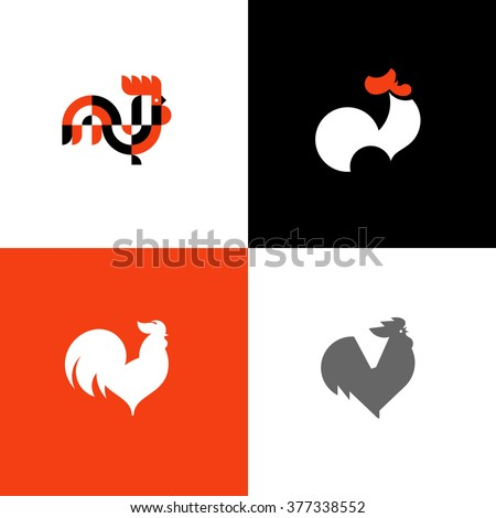 Rooster and cock flat design style vector illustrations set of icons and logos 377338552 - Cock designing ...