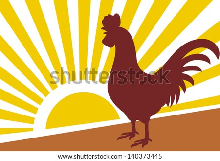 rooster and morning sun