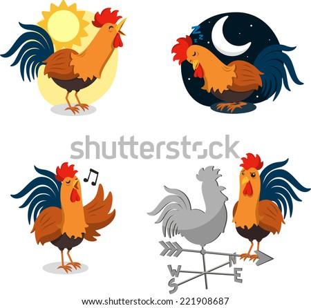 rooster cartoon illustrations