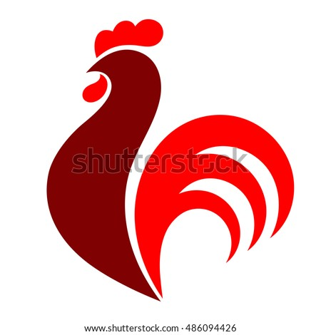 Rooster, chicken, cock. Abstract vector illustration, logo, icon.