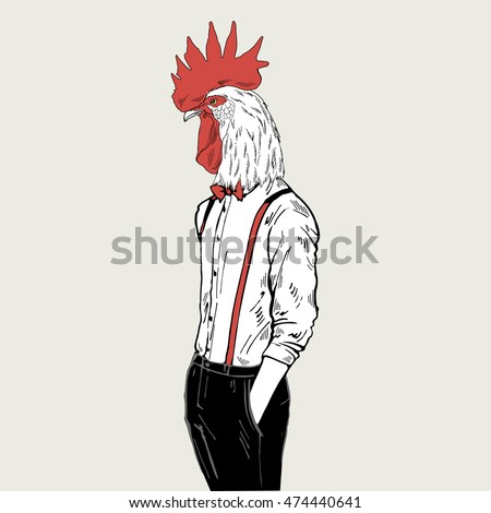 rooster dressed up in classy style, anthropomorphic illustration, fashion animals