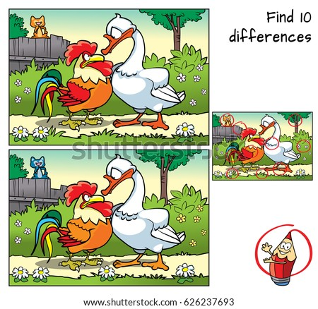 Rooster, goose and cat on the fence. Find 10 differences. Educational game for children. Cartoon vector illustration