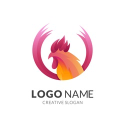 rooster logo concept with 3d red and orange color style