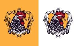 Rooster mascot sport logo design. Chicken rooster head mascot.