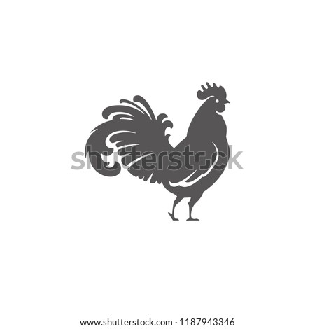 Rooster silhouette vector illustration. Farm bird or butcher shop graphics isolated on white background.