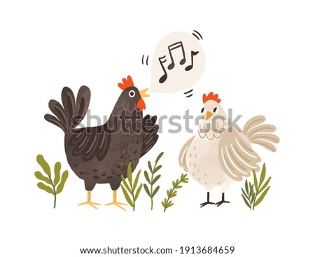 Rooster singing songs for hen. Cute and funny chicken listening to crowing. Colorful flat textured vector illustration isolated on white background