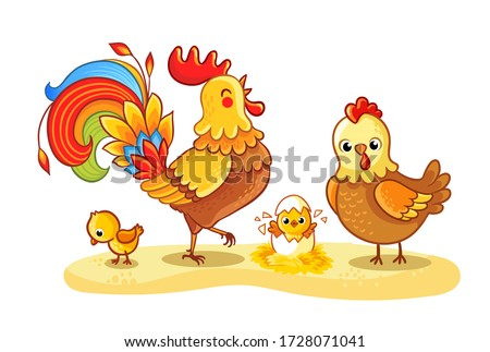 Rooster with chicken and chickens is walking in a clearing. Family chicken. Pets in cartoon style on a farm theme.