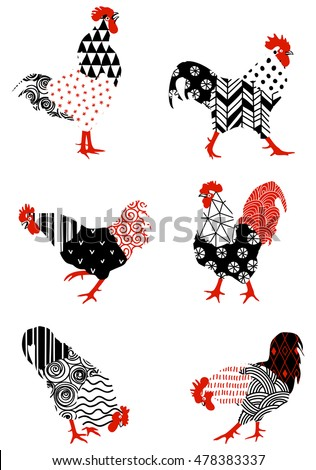 Roosters with graphic patterns made by hand. Symbol of 2017 for your design