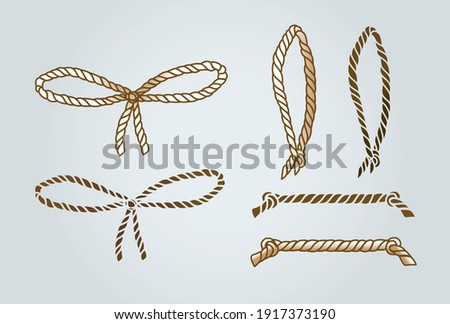 rope bow, vector rope loop, braided rope with knots, bow made of thread, golden bow straight rope, freehand drawing
