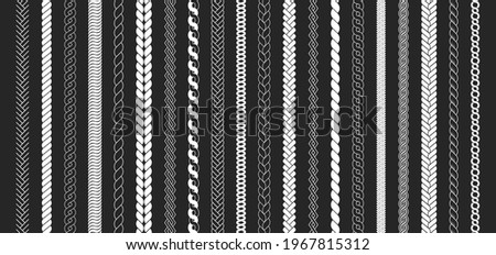 Rope brushes set. Plaits pattern. Thick cord or wire elements. Seamless marine rope texture for decoration. Stock foto ©