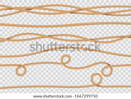 Rope decor. Realistic jute cords marine navy cord, lasso line. Vector illustration marine sailor string seamless pattern drawn stripe
