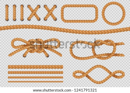 Rope elements. Marine cord borders, nautical ropes with knot, old sailing loop. Vector isolated set Stock photo ©