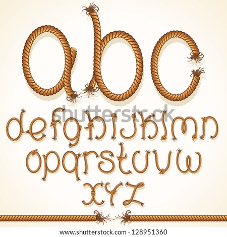 Rope Font. Vector Set of Isolated Alphabet Letters made from Braided Cord