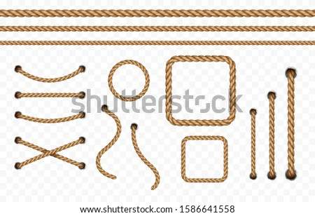 Rope frame set isolated on transparent background. Vector realistic texture strings, jute, lace or cord with metallic holes. 3d fiber rope borders pattern.