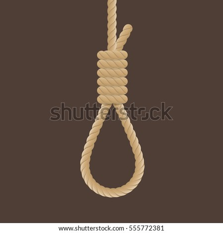 Rope hanging loop. Vector illustration of rope noose with hangman's knot. Death penalty by hanging.