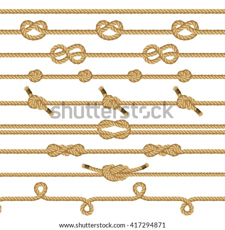 Shutterstock Rope knots collection. Decorative elements. Vector illustration.