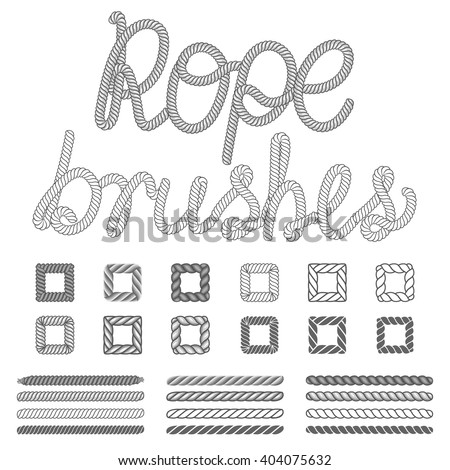 Shutterstock Rope nautical vector pattern brushes set. Ropes pattern. Nautical rope abc