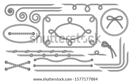 Rope. Set of various decorative rope elements. Frames, laces, knots and decorations. Nautical rope, shoe lacing, decorative binding of paper and fabric. Isolated black outline. Vector illustration