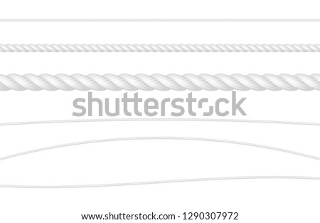 Rope String White Realistic Vector Illustration Set Stock photo ©