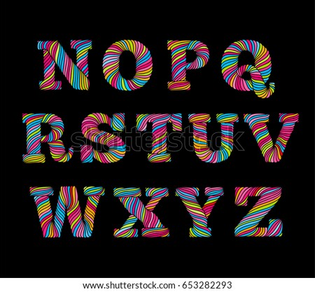 Rope Style Swirl Line Lettering Alphabet Hand Made Font In Bright Colors Typographic Letters